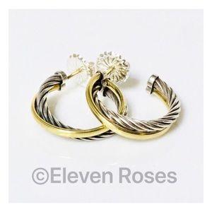 David Yurman Sterling 18k Crossover Hoop Earrings
